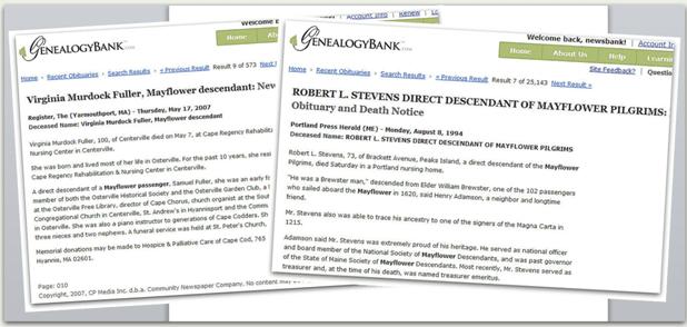 screenshot of recent obituaries from GenealogyBank
