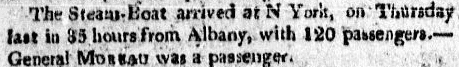 notice about the arrival of the steamboat from Albany, New York, Columbian Centinel newspaper article 14 September 1808