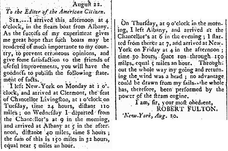 letter from Robert Fulton, Columbian Gazette newspaper article 1 September 1807