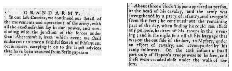 Grand Army [under General Abercrombie], Daily Advertiser newspaper article 3 September 1792