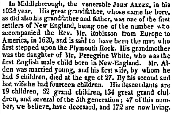 obituary for John Alden, Daily National Intelligencer newspaper article 12 April 1821
