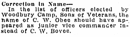 notice about C. W. Obee, Daily Telegram newspaper article 14 December 1918