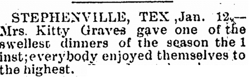 notice about Kitty Graves, Dallas Express newspaper article 13 January 1900