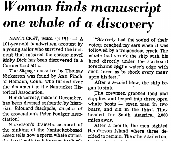 Woman Finds [Thomas Nickerson's] Manuscript; One Whale of a Discovery, Dallas Morning News newspaper article 19 February 1981