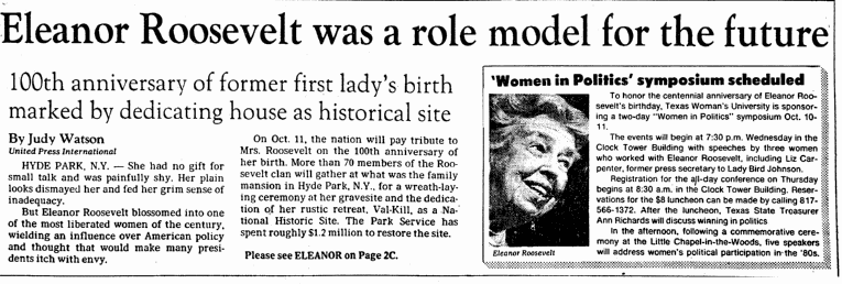 Eleanor Roosevelt Was a Role Model for the Future, Dallas Morning News newspaper article 8 October 1984