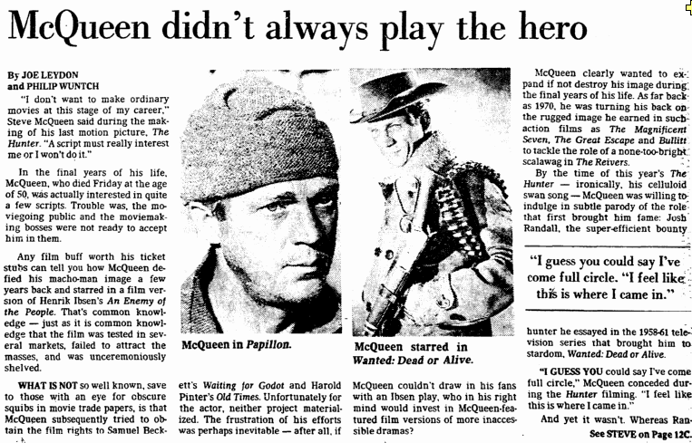 [Steve] McQueen Didn't Always Play the Hero, Dallas Morning News newspaper article 8 November 1980