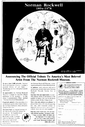 ad for a commemorative plate in honor of Norman Rockwell, Dallas Morning News newspaper advertisement 3 December 1978