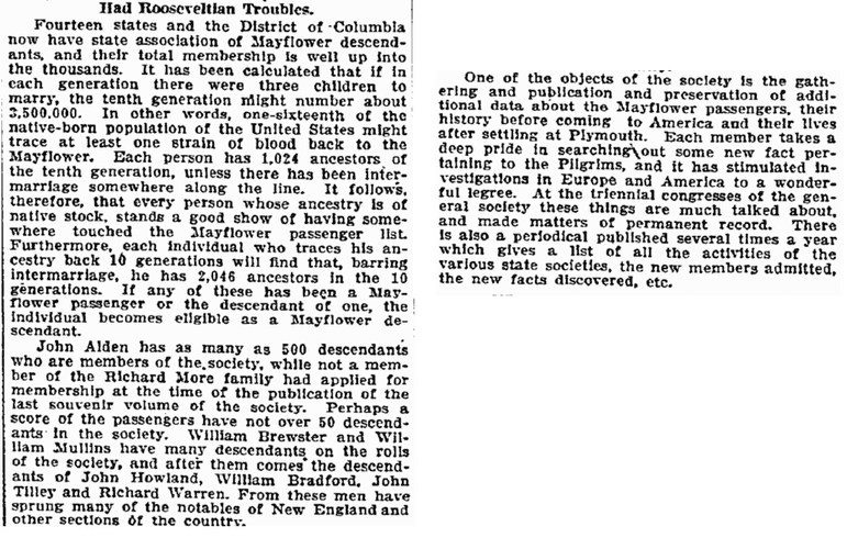 article about descendants of the Mayflower Pilgrims, Duluth News-Tribune newspaper article 18 December 1909