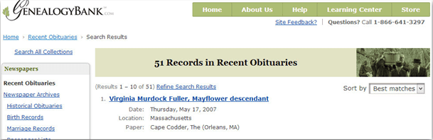 screenshot of search results in GenealogyBank for descendants of Mayflower passenger Samuel Fuller