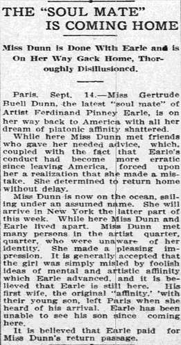 The 'Soul Mate' [Gertrude Dunn] Is Coming Home, Grand Forks Daily Herald newspaper article 15 September 1909