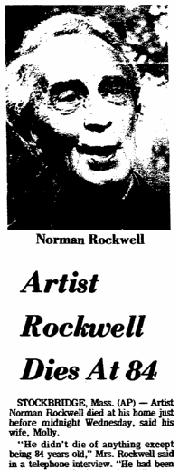 Artist Rockwell Dies at 84, Greensboro Daily News newspaper obituary 9 November 1978