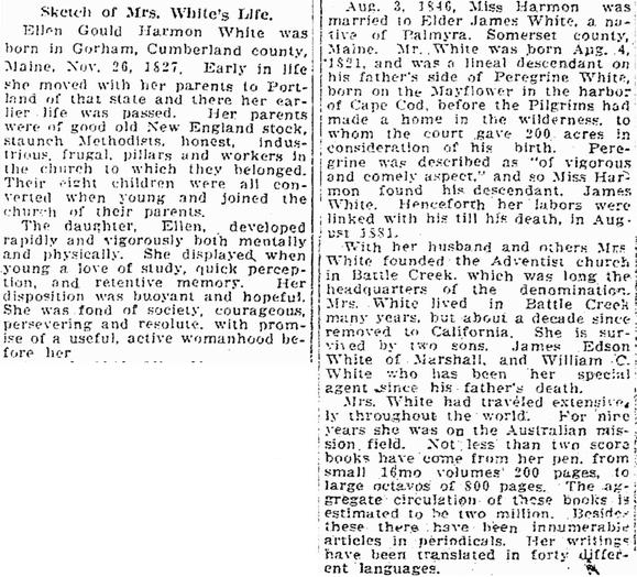 obituary for Ellen White, Jackson Citizen Patriot newspaper article 17 July 1915