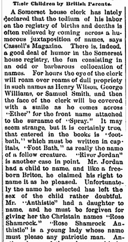 an article about British names, Jacksonian newspaper article 3 December 1891