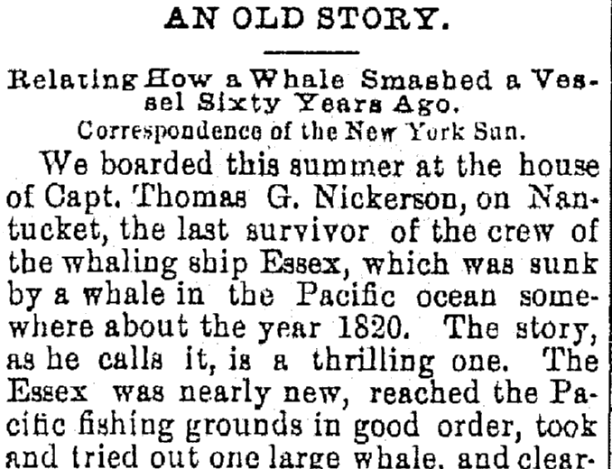 "article about the sinking of the whaling ship ""Essex,"" Kalamazoo Gazette newspaper article 24 October 1879"