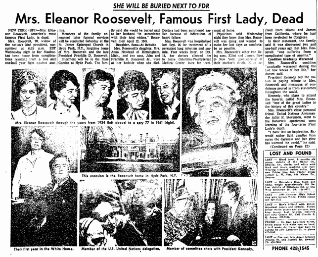 Mrs. Eleanor Roosevelt, Famous First Lady, Dead, Marietta Journal newspaper obituary 8 November 1962