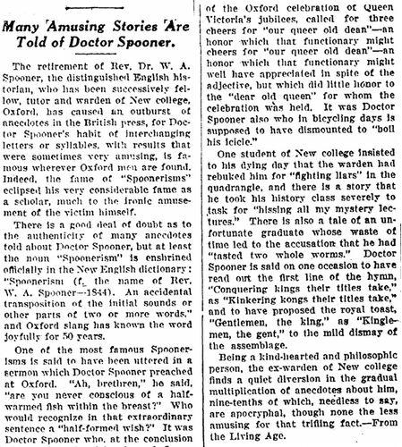 Many 'Amusing Stories' Are Told of Doctor Spooner, National Labor Tribune newspaper article 20 November 1924