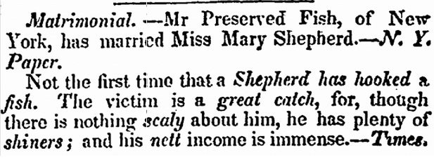 marriage announcement for Preserved Fish and Mary Shepherd, New Bedford Register newspaper article 30 July 1840