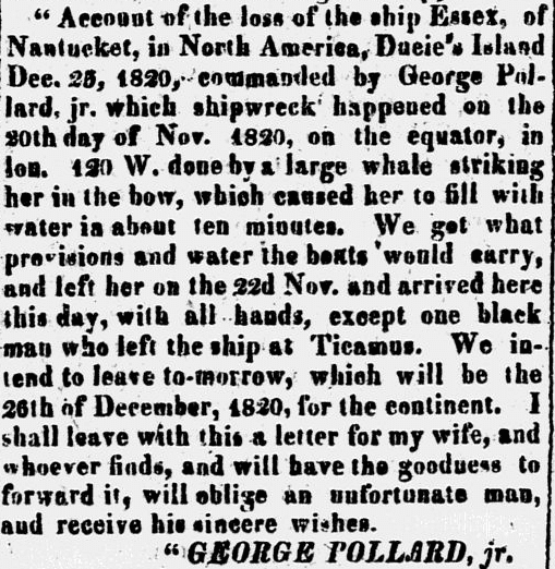 letter from Captain George Pollard Jr., New Hampshire Observer newspaper article 18 March 1822