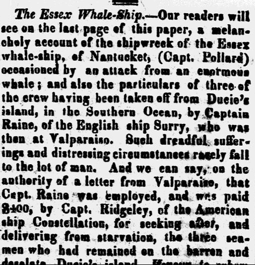 The Essex Whale-Ship, New Hampshire Observer newspaper article 18 March 1822