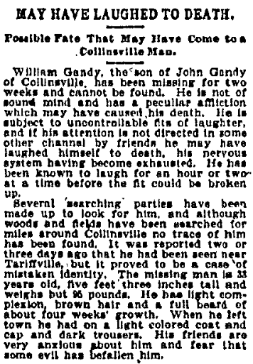 May Have Laughed to Death, New Haven Register newspaper article 11 September 1899