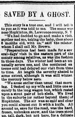 Savced by a Ghost, New Mexican newspaper article 25 October 1893