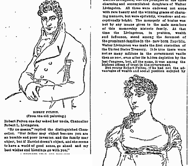 article about Robert Fulton and his wife Harriet, New York Herald newspaper article 25 October 1891
