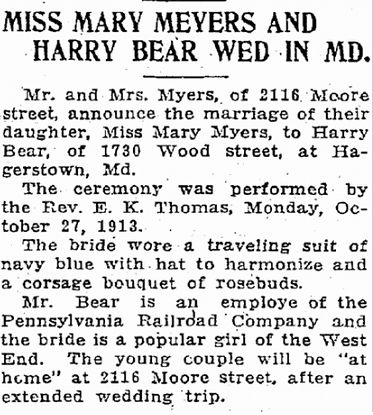 Miss Mary Myers and Harry Bear Wed in Md., Patriot newspaper article 28 October 1913