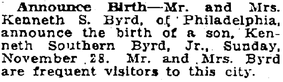 birth announcement for Kenneth Southern Byrd, Patriot newspaper article 20 December 1915