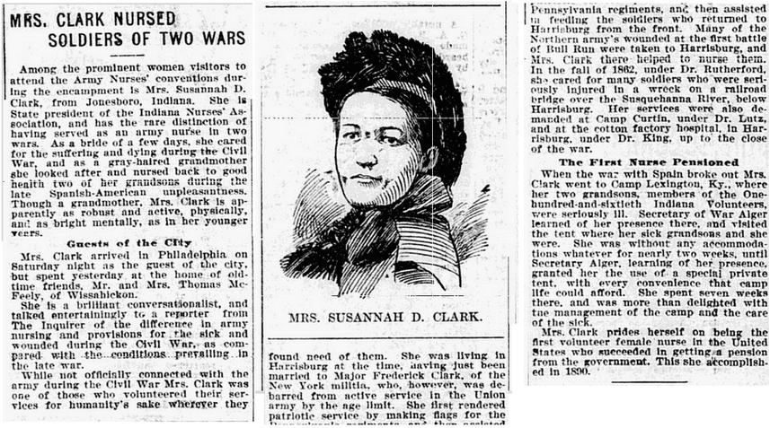 Mrs. [Susannah] Clark Nursed Soldiers of Two Wars, Philadelphia Inquirer newspaper article 4 September 1899
