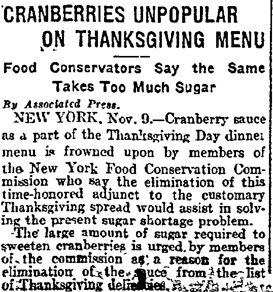 Cranberries Unpopular on Thanksgiving Menu, Philadelphia Inquirer newspaper article 10 November 1917