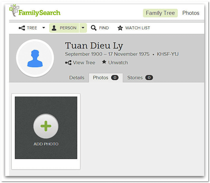 screenshot of the ad photo feature on FamilySearch