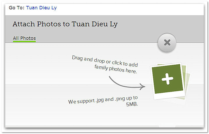 screenshot of the attach photos feature on FamilySearch
