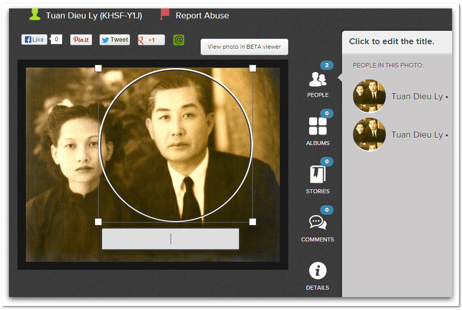screenshot of the edit photos feature on FamilySearch