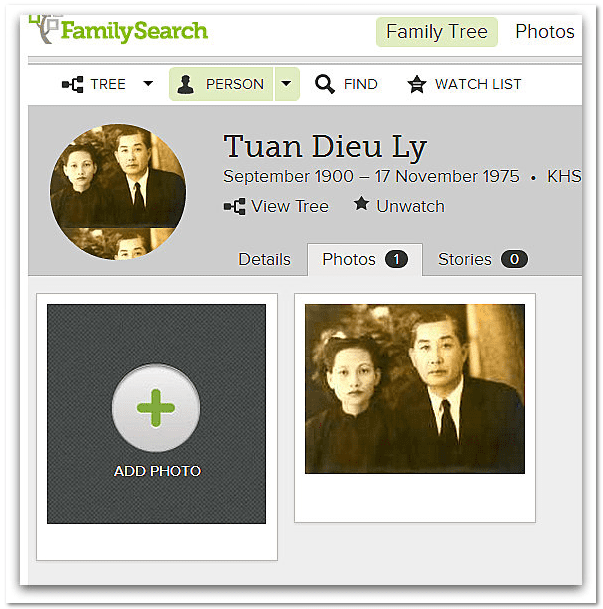screenshot of FamilySearch page for Tuan Dieu Ly