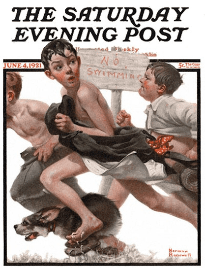 "photo of the painting ""No Swimming"" by Norman Rockwell, used on the cover of the 4 June 1921 edition of ""The Saturday Evening Post"""