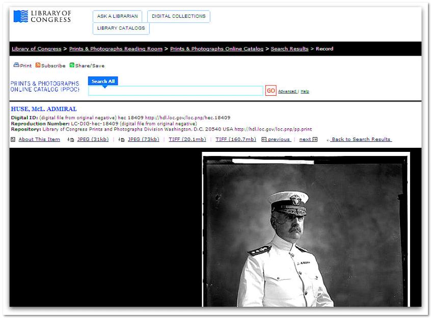 photo of Admiral Harry Pinckney Huse