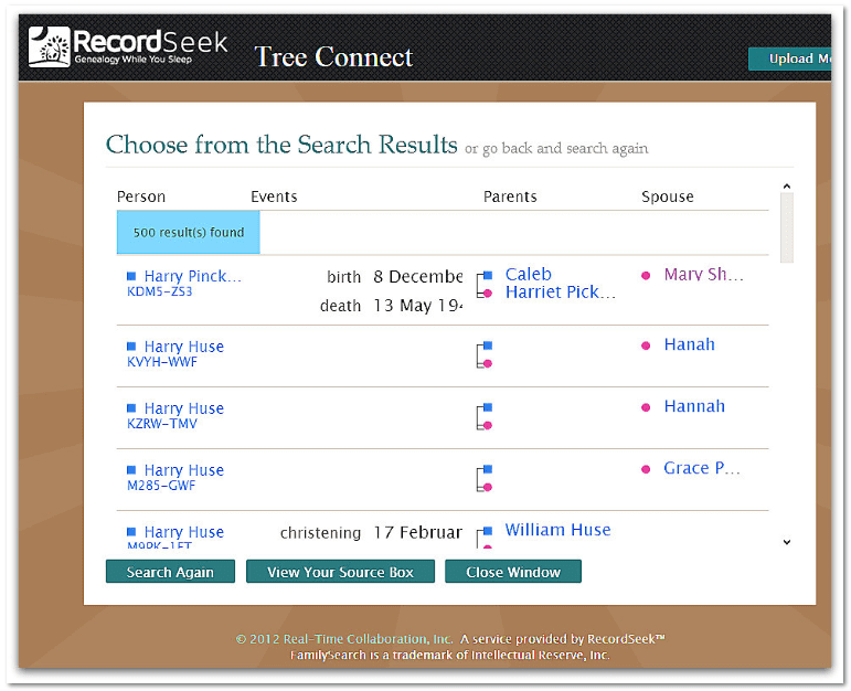 """screenshot of the RecordSeek website for the app """"Tree Connect"""""""