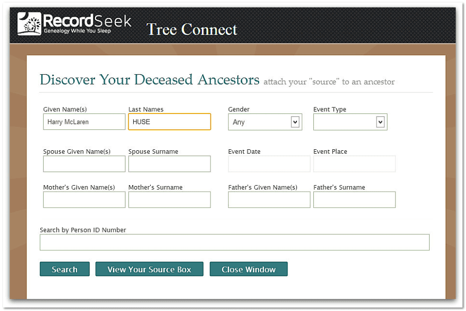 "screenshot of the RecordSeek website for the app ""Tree Connect"""