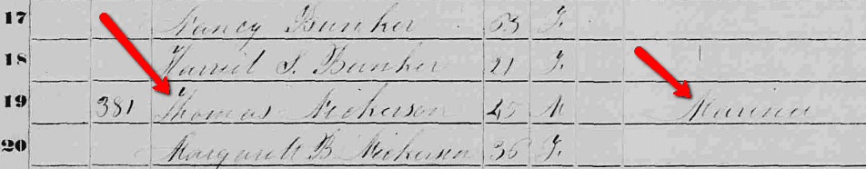 listing for Thomas Nickerson of Nantucket in the 1850 U.S. Census