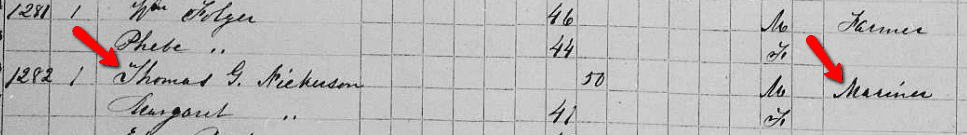 listing for Thomas Nickerson of Nantucket in the 1855 Massachusetts State Census