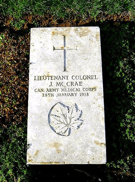 photo of the tombstone of Lt. Colonel John McCrae
