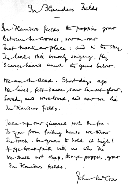 "photo of the handwritten original copy of John McCrae's poem ""In Flanders Fields"""