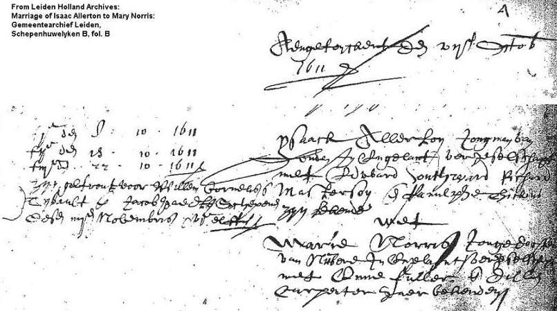marriage certificate for future Mayflower passengers Isaac Allerton and Mary Norris, 1611