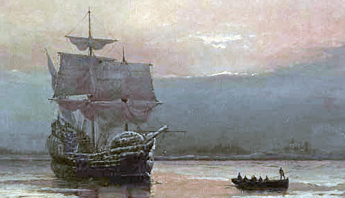 Painting: Mayflower in Plymouth Harbor, William Halsall, 1882