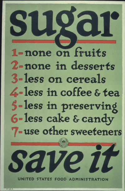 photo of a poster for the U.S. home front during WWI urging households to conserve sugar
