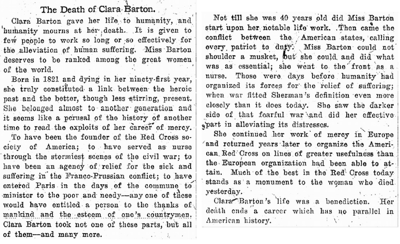The Death of Clara Barton, Plain Dealer newspaper obituary 13 April 1912