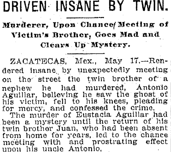 Driven Insane by Twin, Plain Dealer newspaper article 18 May 1909