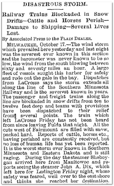 Disastrous [Snow] Storm, Plain Dealer newspaper article 18 October 1880
