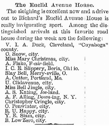 The Euclid Avenue House, Plain Dealer newspaper article 19 December 1878