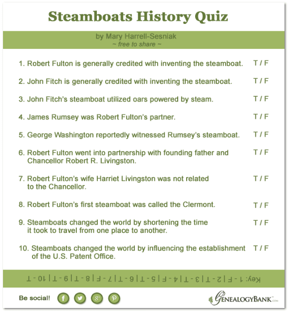 a quiz about the history of steamboats